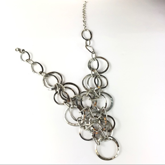 chico/'s signed women jewelry silver tone circle link necklace blue rope chain